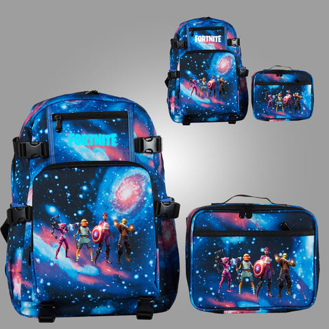Fortnite Themed End Game School Backpack with Detachable Lunch Bag Glow In Dark