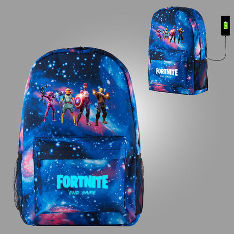 Fortnite Themed End Game Galaxy Backpack for School 17 Inch With USB Charging Port Glow In Dark