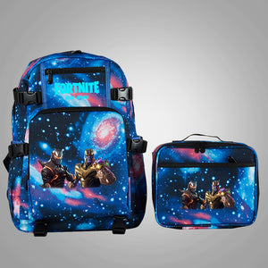 Fortnite Themed End Game Thanos And Omega School Backpack with Detachable Lunch Bag Glow In Dark