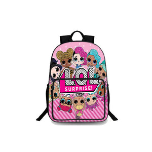 Girls LOL Surprise Backtoschool Kids Durable Pink Oxford Backpack 18 Inch for School