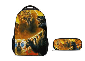 Godzilla 3D Boys Swag School Backpack with Pencil Case Set