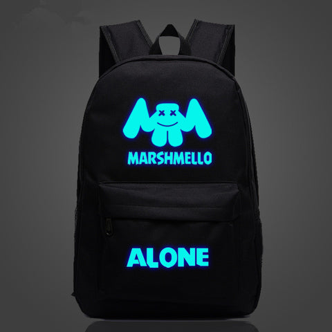 Marshmello Alone Backpacks for School Glow in The Dark 17 Inch