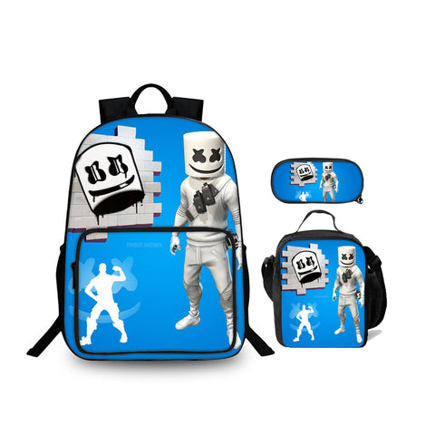 Marshmello DJ Backpack 18 Inch for School Lunch Bag And Pencil Case Bundle 3 in 1
