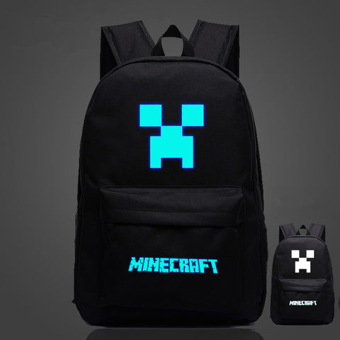 Minecraft Creeper Boys Girls Backpack 17 Inch Glow in Dark