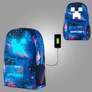 2019 Minecraft Creeper Logo Boys Girls Backpack 17 Inch With USB Charging Port Glow in Dark for School