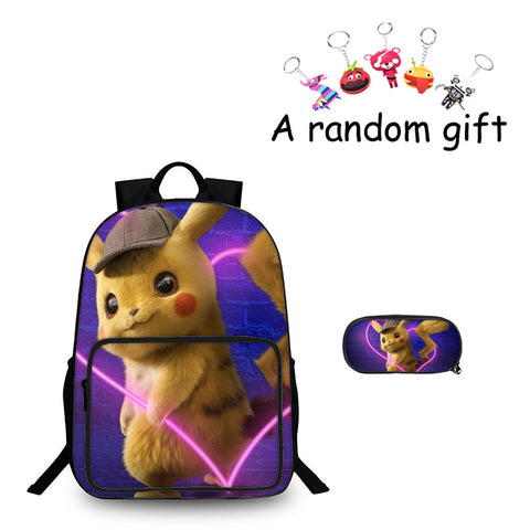 Pokemon Detective Pikachu Love Heart Boys Girls 3D 18 Inch Backpack And Pencil Case 2 in 1