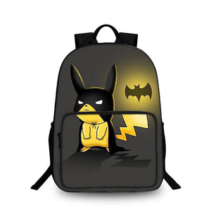Pokémon Pikachu Cosplay Batman 3D Large Capacity Backpack for School 18 Inch
