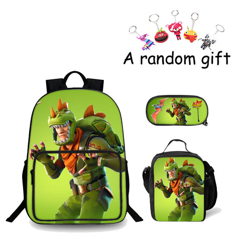 Rex Fortnite 3D Boys Backpack Lunch Bag And Pencil Case Bundle 3 In 1