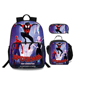Spider-Man Spider Man Into the Spider Verse Backpack 18 in for School Lunch Bag And Pencil Case Bundle 3 in 1