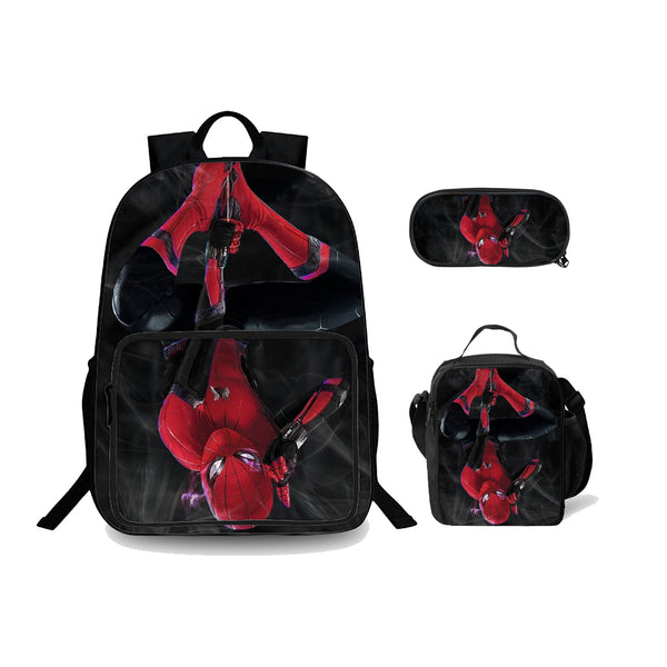 Spider Man Far From Home 3D Black And Red Backpack Lunch Bag And Pencil Case Unisex Bundle 3 In 1