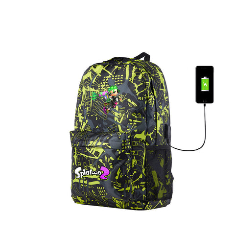 Splatoon Backpack for School 17 Inch With USB Charging Port