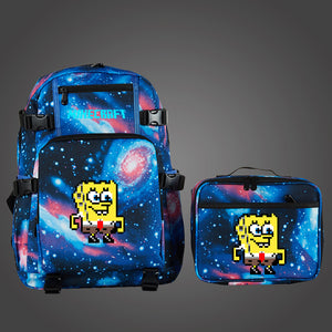 Minecraft Spongebob Kids Durable Oxford Fabric School Backpack with Detachable Lunch Bag Glow in The Dark