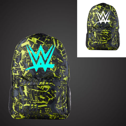 Wrestling W Backpack With USB Charging Port 17 Inch Glow In Dark
