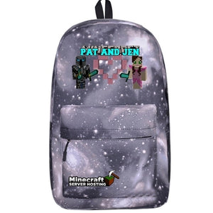 New Minecraft Series Pat and Jen Galaxy Backpack for School 17 Inch