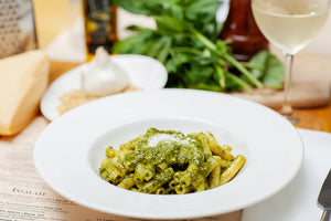Penne or Gnocchi with Basil Pesto