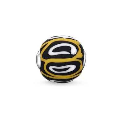 Thomas Sabo Karma bead Glass bead Yellow, white, black K0254-017-4