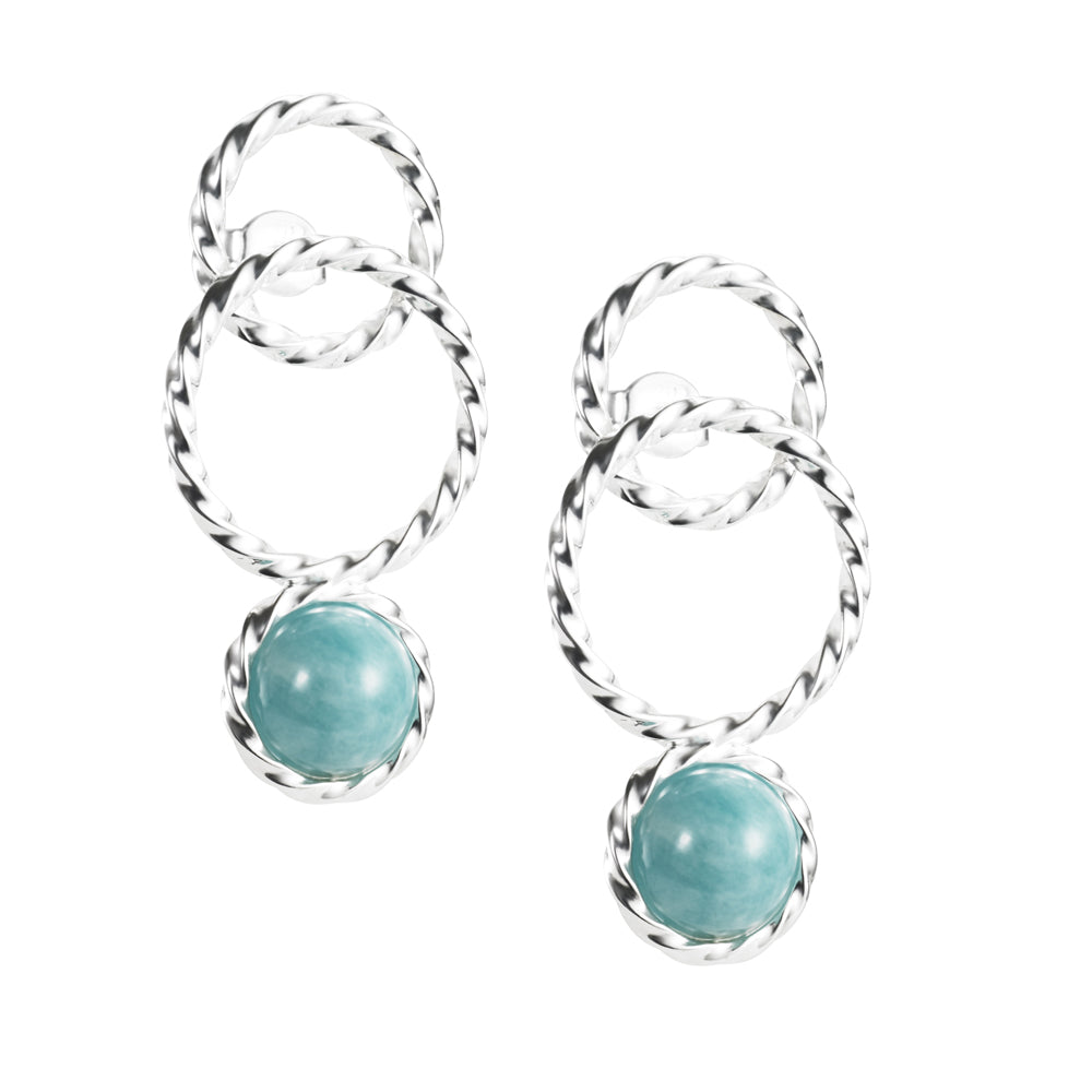Efva Attling Twisted Orbit Amazonite korvakorut