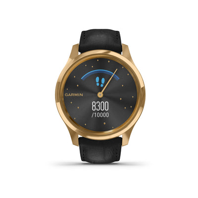 Garmin Vivomove Luxe Black Leather & 24K Gold hybridiälykello 010-02241-02