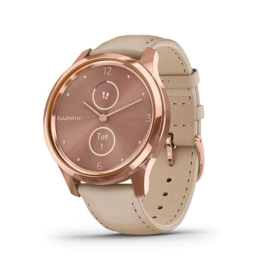 Garmin Vivomove Luxe Light Sand & 18K Rose Gold hybridiälykello 010-02241-01