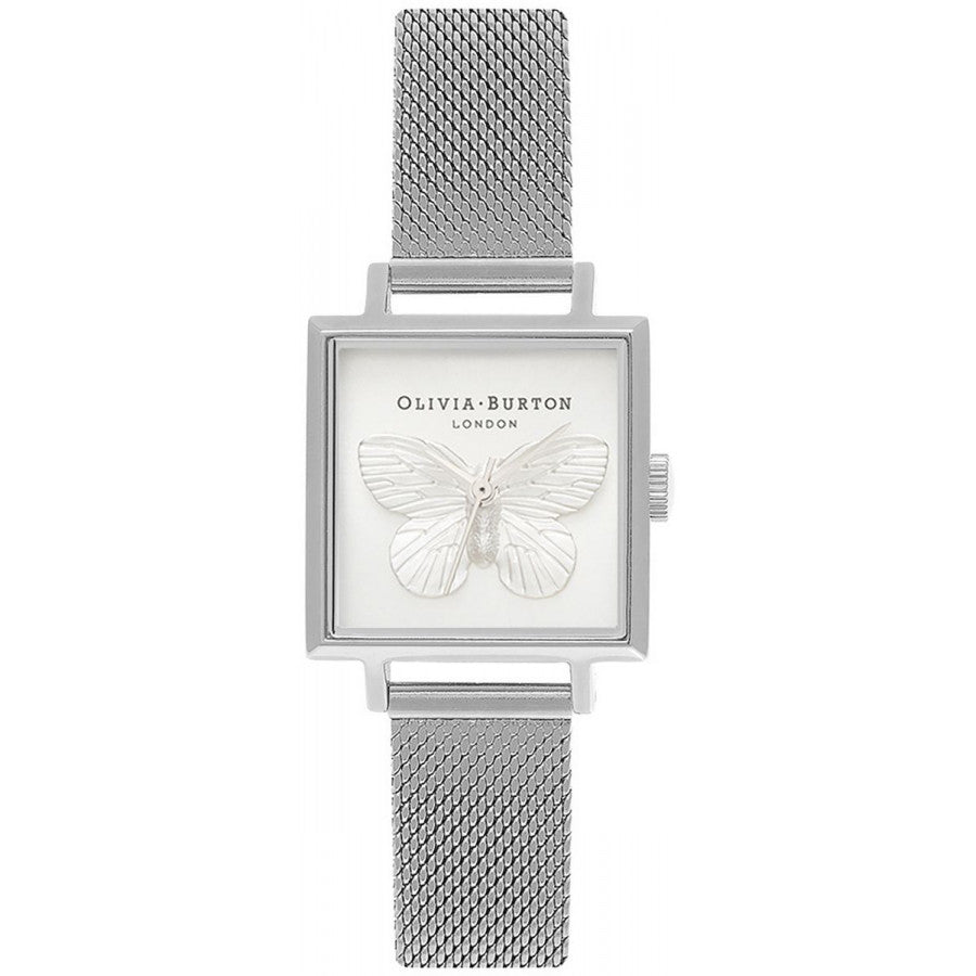 Olivia Burton Square Dial 3D Butterfly Silver Mesh OB16MB15