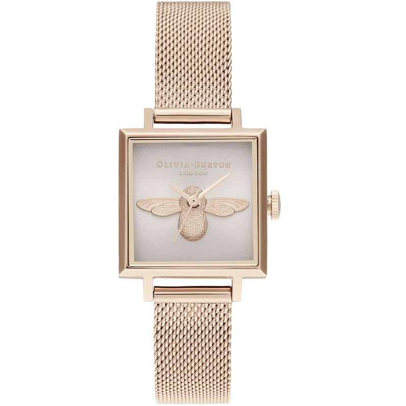 Olivia Burton 3D Bee Square Dial Blush Sunray & Pale Rose Gold kello OB16AM164