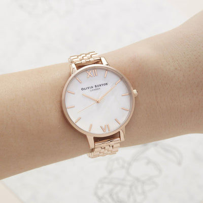 Olivia Burton White Mother of Pearl Dial & Rose Gold OB16MOP03