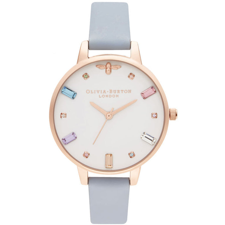 Olivia Burton Rainbow Bee Demi Chalk Blue & Rose Gold kello OB16RB12