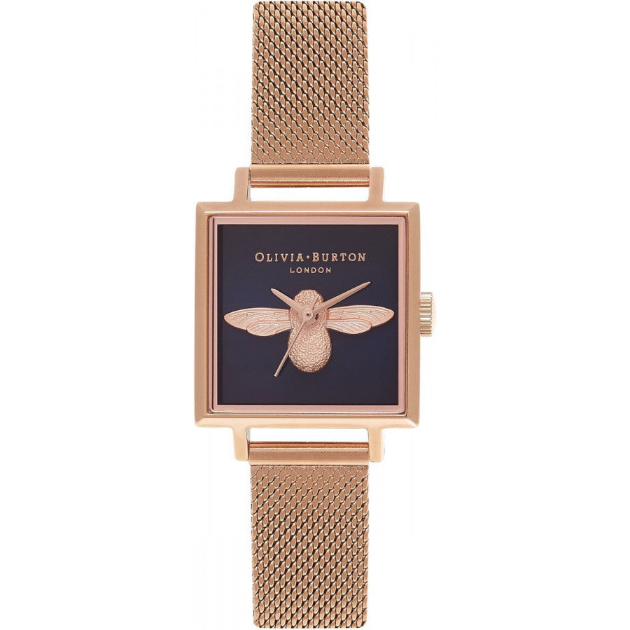 Olivia Burton Square Dial 3D Bee Midnight & Rose Gold Mesh OB16AM96