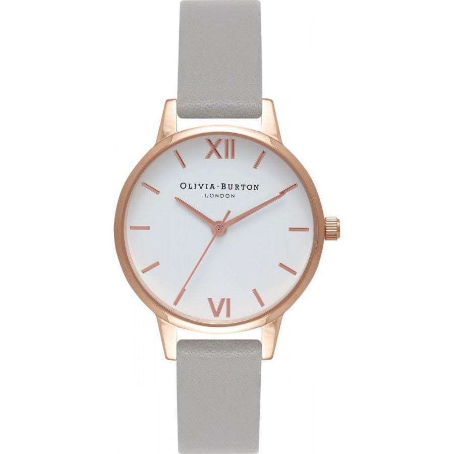 Olivia Burton White Dial Grey & Rose Gold OB16MDW05
