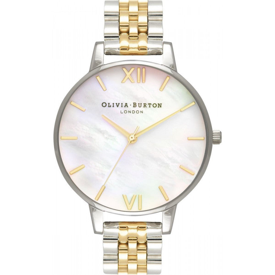 Olivia Burton White Mother of Pearl Dial Silver & Gold OB16MOP05