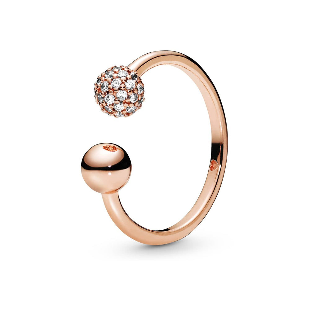 Pandora Rose Polished & Pavé Bead Open sormus 188316CZ