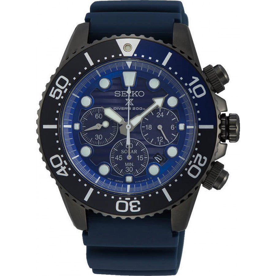 Seiko Prospex Solar Chrono SSC701P1 Save the Ocean Black Series kello