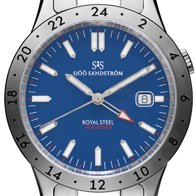Sjöö Sandström Royal Steel Worldtimer 41 mm 020807