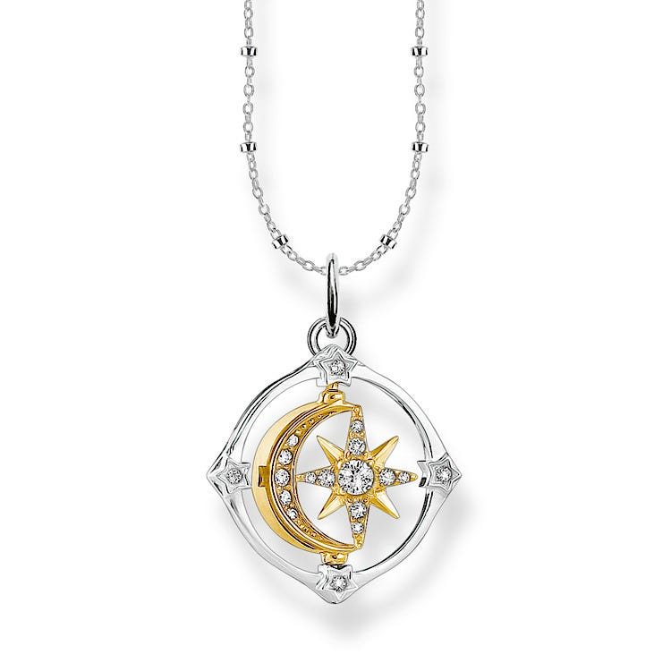 Thomas Sabo Moveable Moon & Star compass kaulakoru