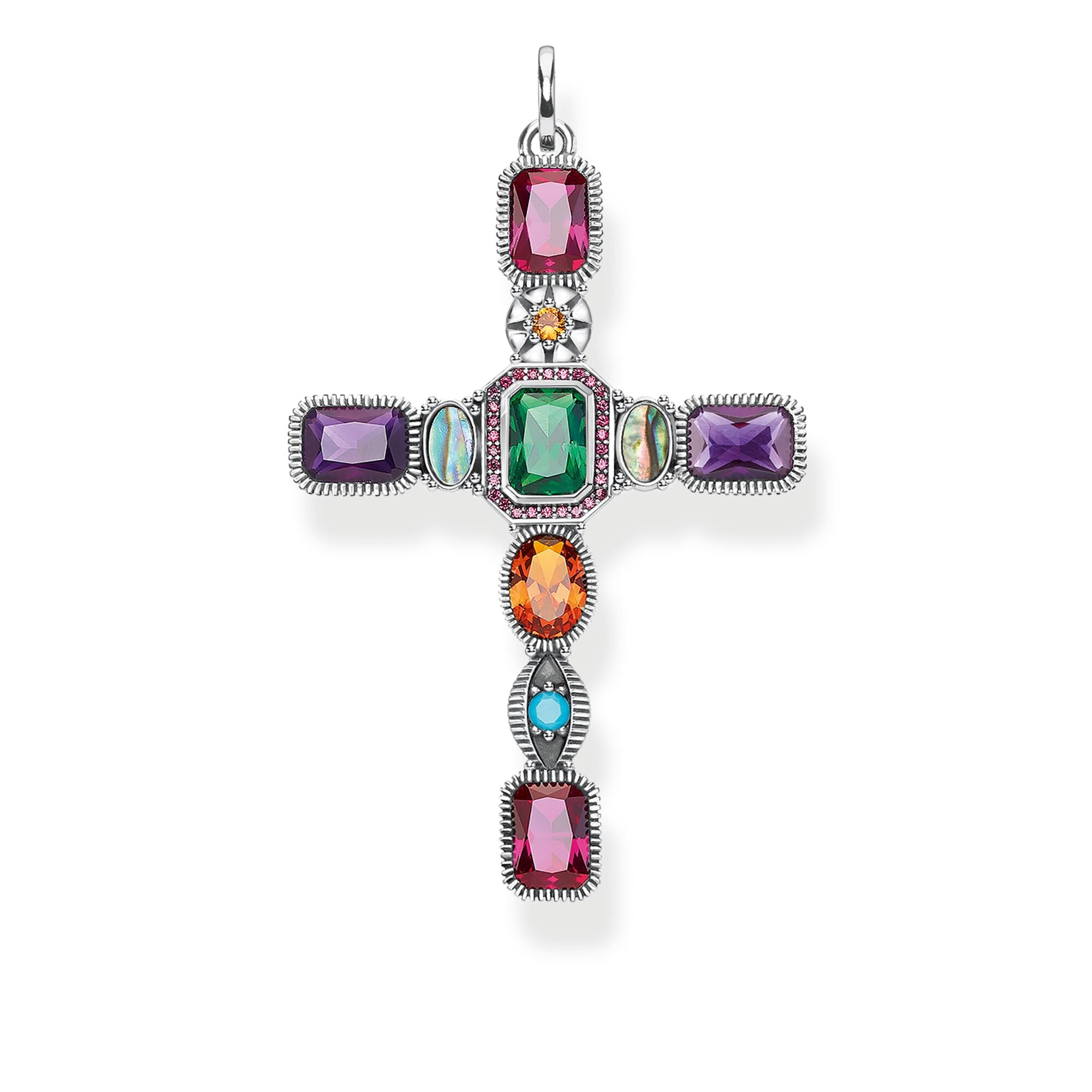 Thomas Sabo Cross Colourful Stones riipus PE859-294-7