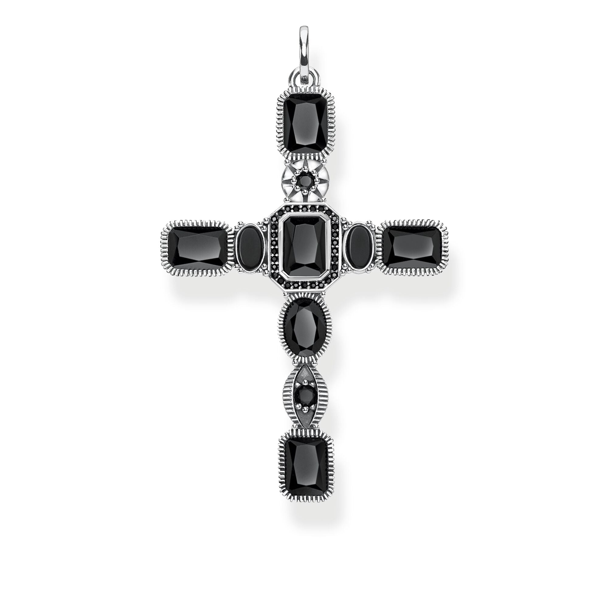 Thomas Sabo Cross Black Stones riipus PE859-641-11