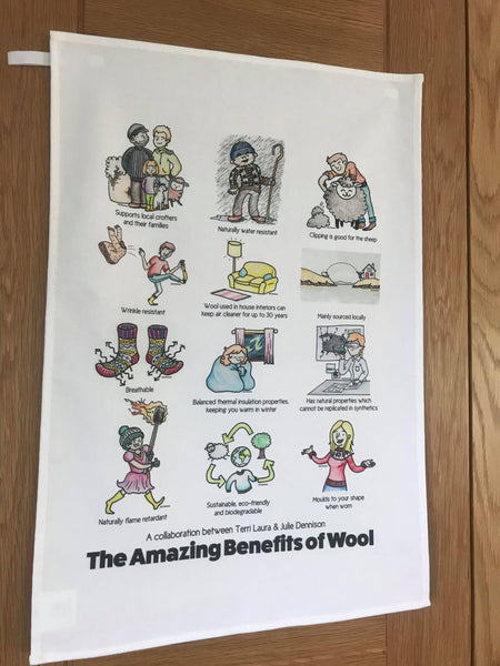 Large Tea Towel - The Amazing Benefits of Wool