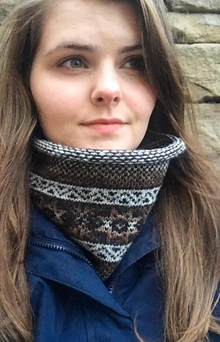 Peat Knitted Fair Isle Curled Cowl