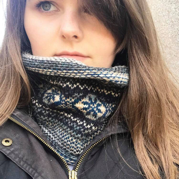 Neptune Knitted Fair Isle Curled Cowl