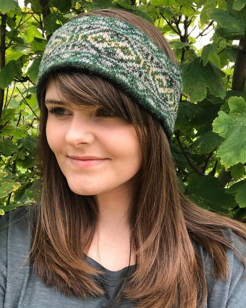 Moss Knitted Fair Isle Headband