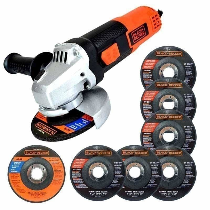"Esmeriladora 4 1/2"" + 6 discos Black and Decker G720P-B3"