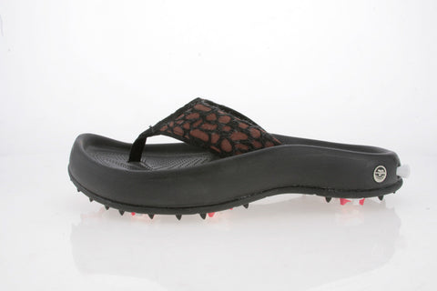 Womens Golf Flip Flop in brown and black leopard. Golf Gators