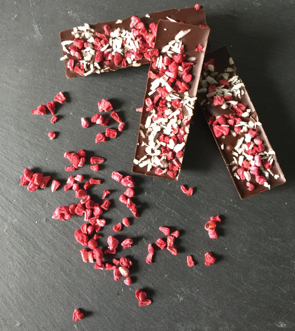 Raspberry and coconut mini bars