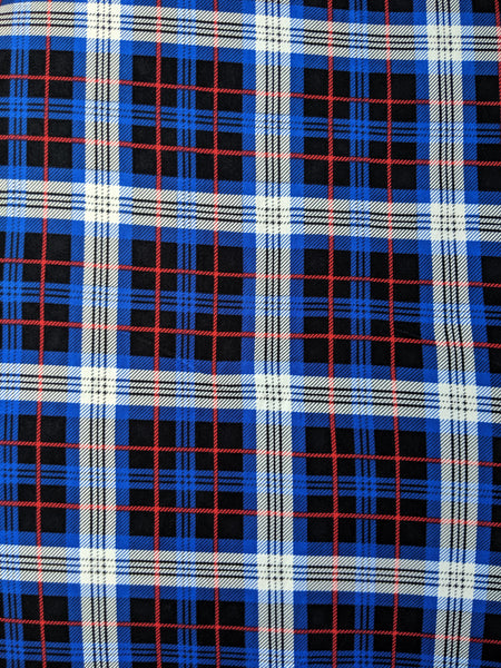 Blue, Black, Red and White Plaid
