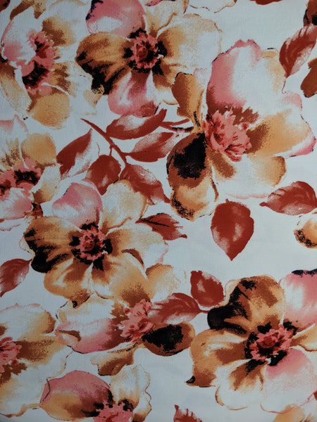 Mauve Large Scale Floral on White