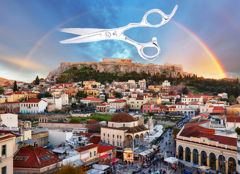 The city of Athens in Greece with a pair of hairdressing scissors