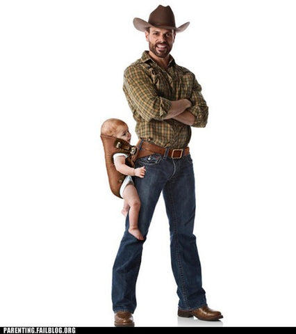 cow boy holster baby meme