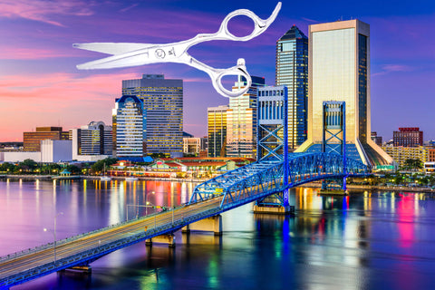 The city of Jacksonville, Florida with a pair of hairdressing scissors