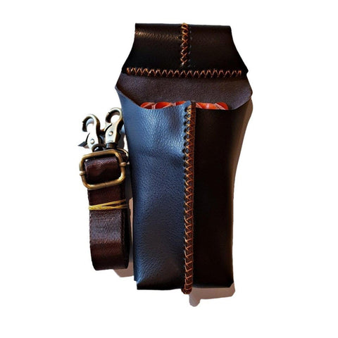 Premium leather brown holster for hair shears