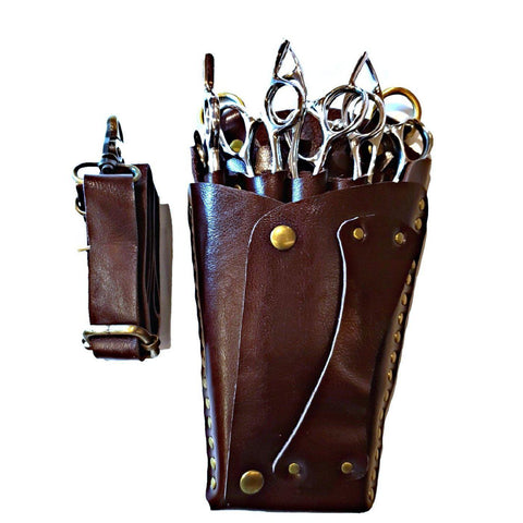 The premium brown leather scissor holster for hairdressers and barbers